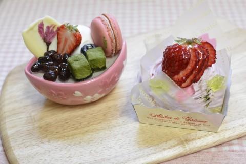 桜と抹茶の小鉢(左) と 桜のモンブラン(右)